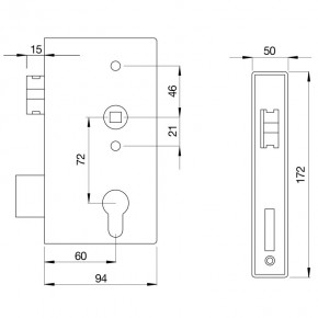 Schloss mit Kasten B=50mm D=60mm A=72mmm verzinkt