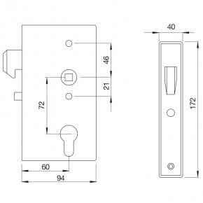 Hakenschloss mit Kasten B=40mm D=60mmm A=72mm verzinkt