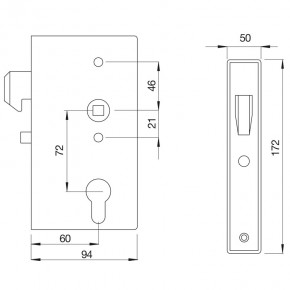 Hakenschloss mit Kasten B=50mm D=60mm A=72mm verzinkt