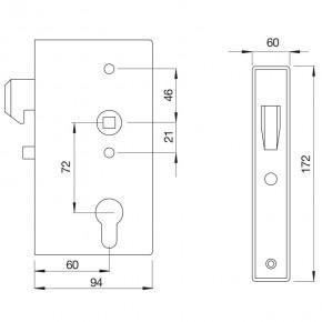 Hakenschloss mit Kasten B=60mm D=60mm A=72mm verzinkt