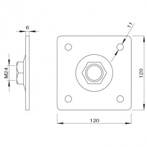 Wandpllatte 120x120mm mit Bewegungsmutter M24 Stahl verzinkt