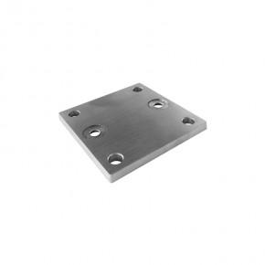Pfostenhalter Systemplatte 100x100x6mm 4x Ø11mm A=70mm A2 Korn320