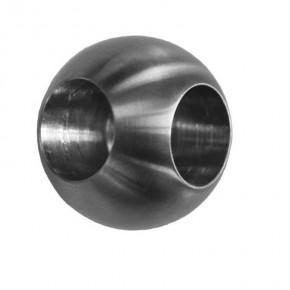 Kugel Ø25mm mit Sackloch 2x Ø12mm 90° A2 Korn240