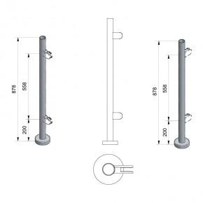 Pfosten Ø42,4x2,0mm Aufgesetzte Montage H=878mm links/rechts 2x M8