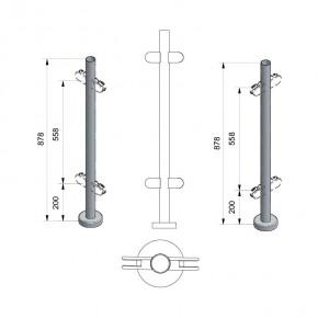 Pfosten Ø42,4x2,0mm Aufgesetzte Montage H=878mm Mitte 4x M8