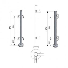 Pfosten Ø42,4x2,0mm Aufgesetzte Montage H=878mm Ecke 4x M8 / 90°