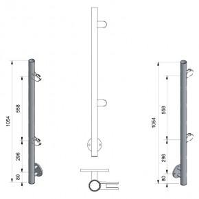 Pfosten Ø42,4x2,0mm Vorgesetzte Montage H=1.054mm links 2x M8