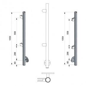 Pfosten Ø42,4x2,0mm Vorgesetzte Montage H=1.054mm rechts 2x M8