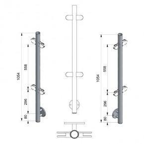 Pfosten Ø42,4x2,0mm Vorgesetzte Montage H=1.054mm Mitte 4x M8