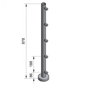 Pfosten Ø42,4x2,0mm Aufgesetzte Montage H=878mm Mitte 5x Querstabhalter