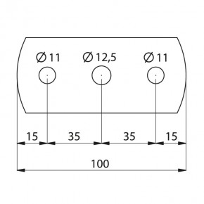 Ronde 100x50x6mm oval Ø12,5mm 2x Ø11mm ST