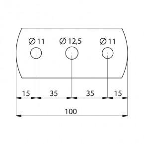 Ronde 100x50x8mm oval Ø12,5mm 2x Ø11mm ST