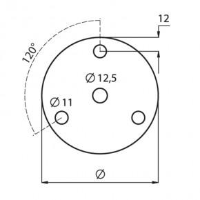Ronde Ø70x6mm Ø12,5mm 3x Ø11mm 120° ST