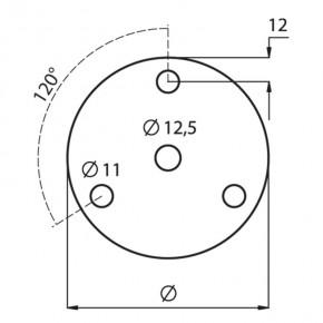 Ronde Ø70x8mm Ø12,5mm 3x Ø11mm 120° ST