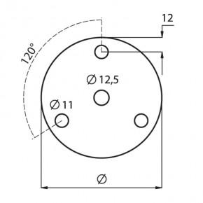 Ronde Ø80x8mm Ø12,5mm 3x Ø11mm 120° ST