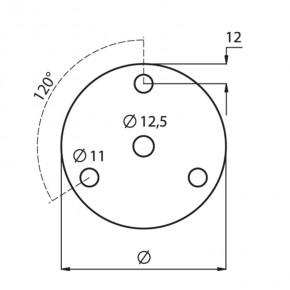 Ronde Ø100x6mm Ø12,5mm 3x Ø11mm 120° ST