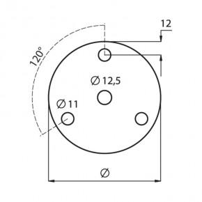 Ronde Ø100x8mm Ø12,5mm 3x Ø11mm 120° ST