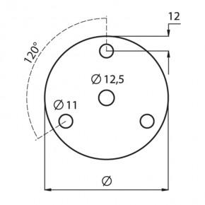 Ronde Ø120x6mm Ø12,5mm 3x Ø11mm 120° ST