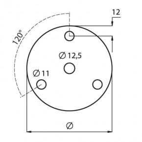 Ronde Ø120x8mm Ø12,5mm 3x Ø11mm 120° ST