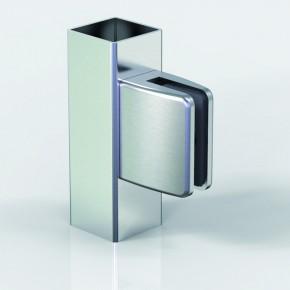 Klemmbefestigung 60x48mm eckig Flach Glas 8-8,76 ZN Edelstahlfinish Klarlack