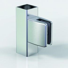 Klemmbefestigung 60x55mm eckig Flach Glas 8-8,76 ZN Edelstahlfinish Klarlack