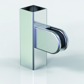 Klemmbefestigung 45x63mm halbrund Flach Glas 9,52 ZN Edelstahleffekt Klarlack