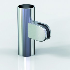 Klemmbefestigung 38x52mm halbrund R15 Glas 8-8,76 ZN Edelstahlfinish Klarlack