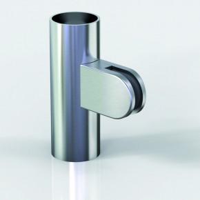 Klemmbefestigung 38x52mm halbrund R20 Glas 8-8,76 ZN Edelstahlfinish Klarlack