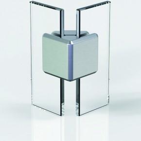 Winkelverbinder 45x45mm eckig Glas-Glas 6-12,76 ZN Edelstahlfinish