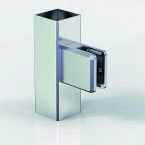 Klemmbefestigung 45x48mm eckig Flach Glas 8-8,76 ZN Edelstahlfinish
