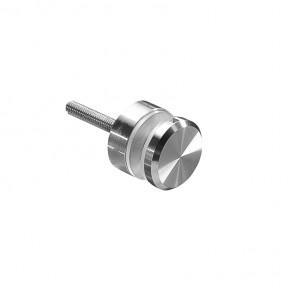 Punkthalter Ø30x8mm erhaben Fase Flach M6 ZN Edelstahlfinish Klarlack