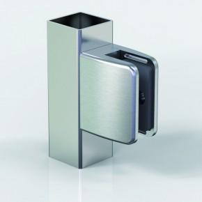 Klemmbefestigung 67x55mm eckig Flach Glas 12-12,76 ZN Edelstahlfinish