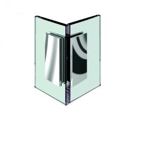 Winkelverbinder Farfalla Glas-Glas 90° starr mit Kappe ZN Edelstahleffekt