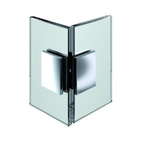 Winkelverbinder Flamea Glas-Glas 90° starr mit Kappe ZN mattverchromt