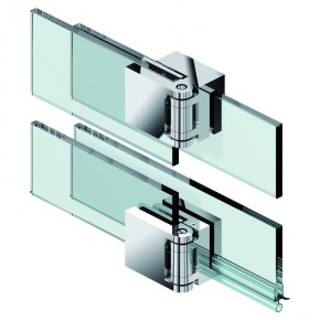 Fluture Set Glas-Glas 180° überlappend ohne Schwallschutz ZN mattverchromt