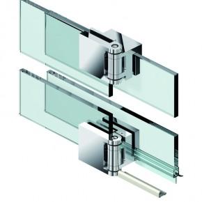 Fluture Set Glas-Glas 180° überlappend mit Schwallschutz ZN mattverchromt
