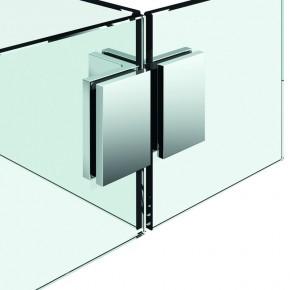 zweiseitiger Winkelverbinder Flamea+ Glas-Glas-Glas 90° starr ZN Edelstahleffekt