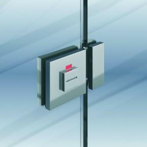 Glastürriegel mit Schauscheibe 8-10mm MS glanzverchromt