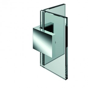 Winkelverbinder Nivello+ Glas-Glas 90° starr ZN Edelstahleffekt