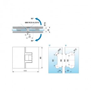 Pontere Glas-Glas 180° glanzverchromt