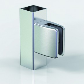 Klemmbefestigung 60x55mm eckig Flach Glas 9,52 ZN Edelstahlfinish Klarlack