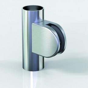 Klemmbefestigung 60x55mm halbrund R22 Glas 12-12,76 ZN Edelstahlfinish