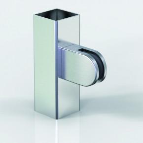Klemmbefestigung 38x52mm halbrund Flach Glas 10-10,76 A4 matt gebürstet