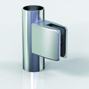 Klemmbefestigung 60x55mm eckig R22 Glas 10-10,76 A2 matt gebürstet