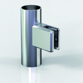 Klemmbefestigung 45x48mm eckig R22 Glas 6-6,76 A2 matt gebürstet