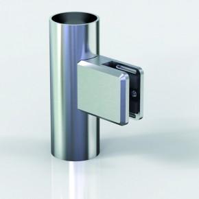 Klemmbefestigung 45x48mm eckig R22 Glas 12-12,76 A2 matt gebürstet